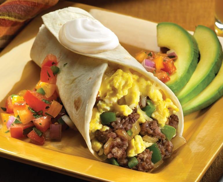 Desayuno burrito de huevo